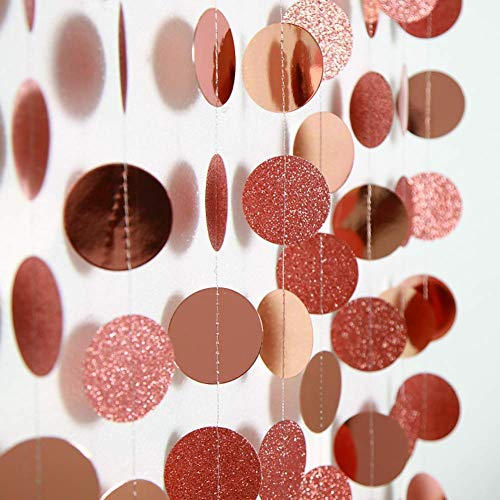 Decor365 Glitter Rose Gold Circle Dots Garland Party Decorations Paper Polka Dots Hanging Streamer String Bunting Banner Backdrop Background Decor for Wedding/Birthday/Baby Shower/New Year/Christmas