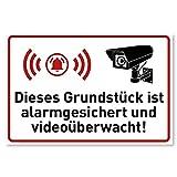 Achtung Videoüberwachung Schild (30x20 cm Kunststoff) - Warnschilder und Hinweisschilder - Grundstück ist Alarmgesichert und Videoüberwacht Schilder - 870198