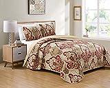 Kids Zone Home Linen Bedspread Set Damask Pattern Taupe Burgundy Brown New (King/California King)
