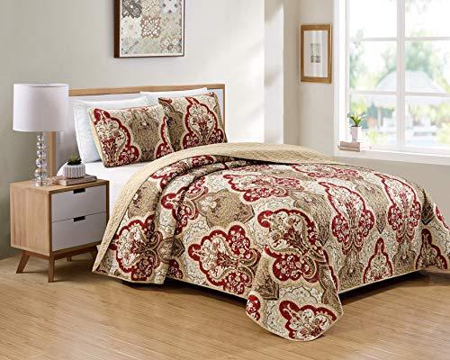 Better Home Style 2-teiliges Luxus-Tagesdecken-Set, luxuriös, weich, taupe, Burg&errot, Ornament-Design, Blumenmuster, Tagesdecke, Übergröße, Bettbezug-Set # Amanda (Taupe, Twin/Twin XL)
