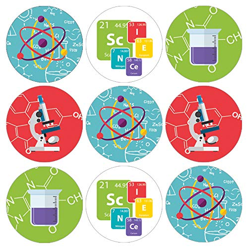 Science Birthday Party Favor Stickers - 180 Labels
