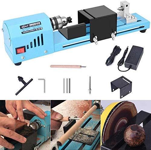 4YANG DC 24V 150W Mini torno máquina pulidora azul Mecanizado CNC para mesa de carpintería Pulido y corte de torno Herramienta de bricolaje de madera Conjunto estándar de torno