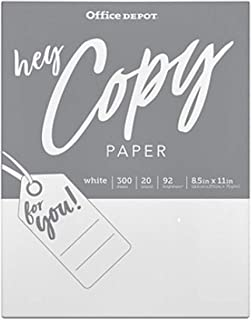 Office Depot School Copy & Print Paper, 92 Bright White, Acid-Free, Convenient 300 Pack (2342273)