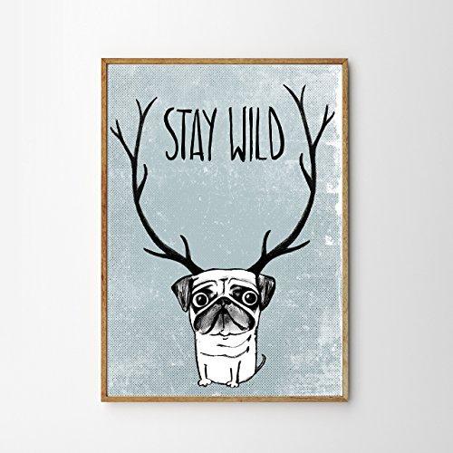 Poster: stay wild, Mops - Hirschmops, blau
