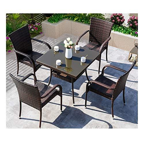 Conjunto de muebles de patio y silla de mimbre Rat Juego de muebles de jardín de ratán Muebles de patio Muebles de jardín al aire libre Muebles de vidrio Conversación de mesa de café Mesa de centro