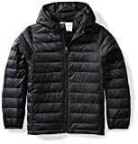 Amazon Essentials Kids Boys Light-Weight Water-Resistant Packable Hooded Puffer Jackets Coats, Black, Large