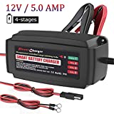 BMK Car Battery Charger, 12V 5.0 Fully Automatic Battery Charger Maintainer for Car Boat Lawn Mower Marine Sealed Lead Acid Battery, 3 in1 Battery Charge, Maintain and Repair - UK Plug