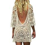 Ailyoo Mujer Mini Vestidos de Playa Túnica Suéter Kimono Bohemia Moda Sin Respaldo Bikini Cubrir Blusa de Ganchillo/Vestido de Playa Encaje Crochet Traje de baño Cubrirse Mujer Vestido de Encaje Sexy