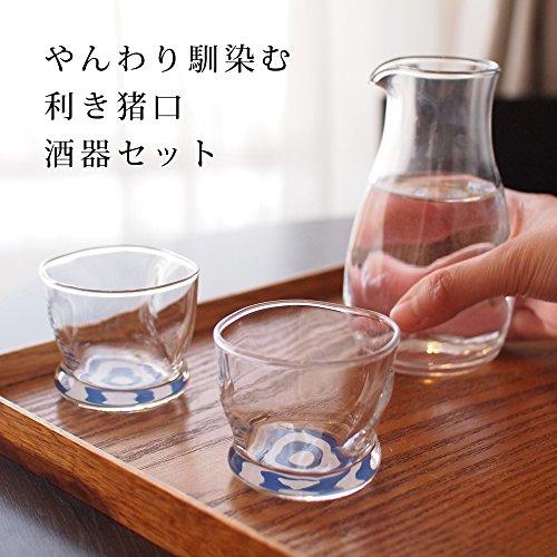 アデリア酒器セットクリア(カラフェ290ml×1個、盃100ml×2個)利き猪口味わいグラスギフトセット化粧箱入日本製S-6216
