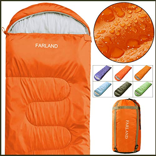 FARLAND Sleeping Bags 20℉ for Adults Teens Kid with Compression Sack Portable and Lightweight for 3-4 Season Camping, Hiking,Waterproof, Backpacking and Outdoors (Red, Rectangle)