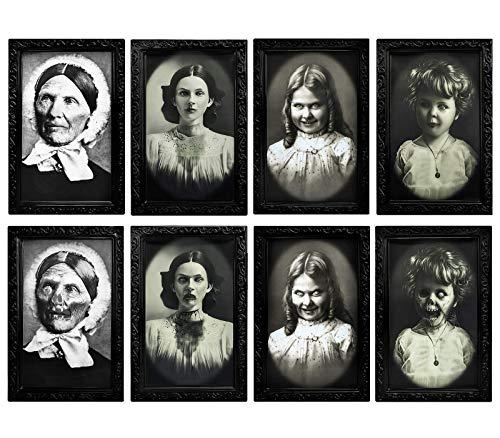 4 Stück Halloween Horror Portrait Dekorationen Gruseliger Fotorahmen 3D wechselnde Gesicht Gruselig Bilderrahmen Spukwand Dekoration für Zuhause Halloween Party Decor