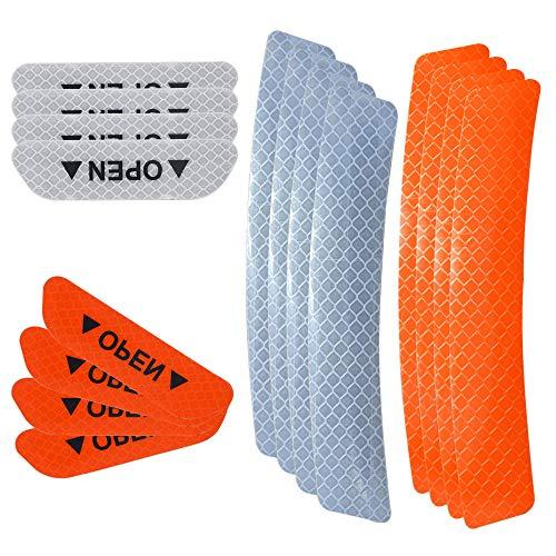 Senven Pegatinas de advertencia reflectantes de puerta avanzadas adhesivos anti colisión de puerta, cejas rueda coche adhesivos reflectantes impermeables universales, Naranja y blanco -16 piezas