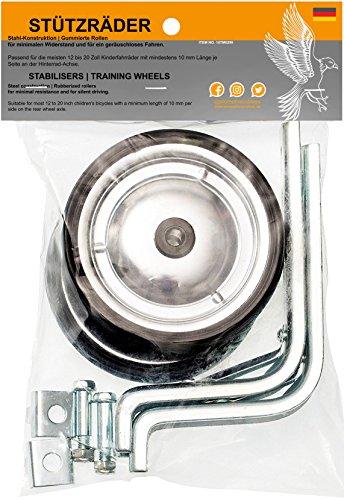 Prometheus Stützräder für Kinderfahrrad Universell für 12 bis 18 Zoll | Nur zur Montage auf der Fahrrad Hinterradachse geeignet - stabile Stahlkonstruktion mit Gummi-Reifen | Edition 2020