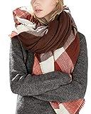 Lantch Damen Schal Kariert übergroßer Quadratisch Deckenschal Herbstschal Winterschal Karo Tartan Streifen Plaid Muster XXL Oversized Fransen Poncho (Stil 12)