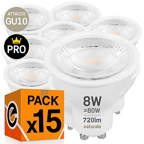 15x Lampadine LED GU10 8W Professionali Garanzia 5 anni Satinata Antiabbaglio (720 lumen equivalenti a 80W) - Forma: Faretto - Luce Bianco Naturale 4000K - Fascio Luminoso 38°