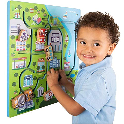 City Heroes Wall Toy for Toddlers –Wall Activity Toy Panel for Kids - Wall Mounted Tactile Toy for Fine Motor Skills, Memory, and Sensory Development – Play Area Gifts for Boys & Girls