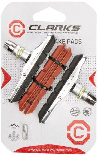 Clarks - Porta Pattini filettato + Pattini in Omaggio, per Freno V-Brake Tipo XTR, Colore: Nero Rosso