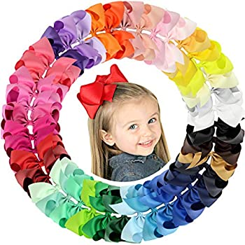 ALinmo 40pcs 6  Big Larger Hair Bow Clips Grosgrain Boutique Ribbon Hair Clips for Baby Girls Kids Teens Infants Toddlers Women