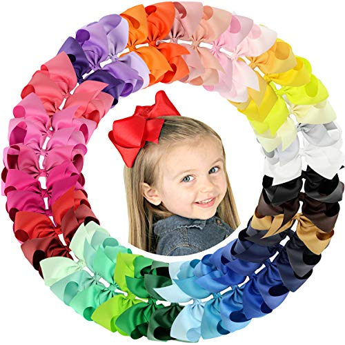 """ALinmo 40pcs 6"""" Big Larger Hair Bow Clips Grosgrain Boutique Ribbon Hair Clips for Baby Girls Kids Teens Infants Toddlers Women"""