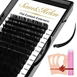 Sam&Helen Ellipse Eyelash Extensions,16 Rows Flat Lash Extension,Mink Individual lashes 0.2mm C Curl Mixed 8-15mm Black Matte Individual Eyelashes Extension,Professional Salon Use