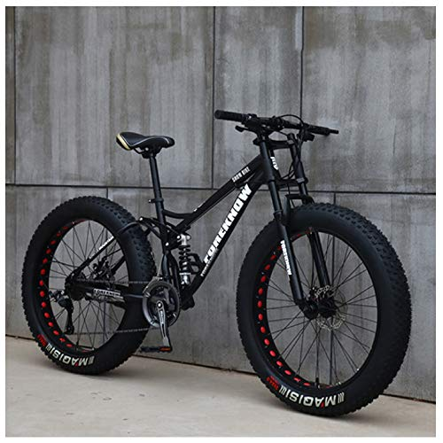 NENGGE Mountain Bikes, 26 Inch Fat Tire Hardtail Mountain Bike, Dual Suspension Frame and Suspension Fork All Terrain Mountain Bike,27 Speed,Black Spoke