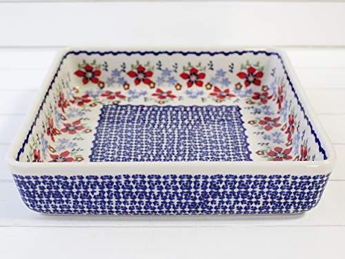 ポーリッシュポタリー (ポーランド食器) スクエアグラタン皿L 大皿 パーティー皿 おうちカフェ ラザニア 21cm|CP151-MM01