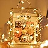 VOKSUN Luces de Cortina de Estrella, 2 Piezas 5M / 16.4Ft Estrellas Hadas Luces 50 LED Luces de Cortina de Navidad con 8 Modos de Iluminación y Temporización IP44 Impermeable para Jardín Bodas Navidad