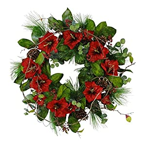 Wholesale Silk Floral Amaryllis Wreath Christmas, 32-in, Red, Green