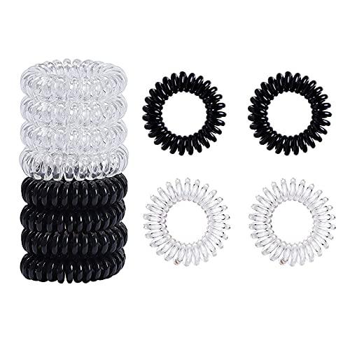 16 Stück Telefonkabel haargummi elastisch Haarband,Spirale Telefonkabel Zopfgummi Fitness Haarband Spiral Haargummi für Damen und Mädchen,8 Stück Schwarz und 8 Stück Transparent