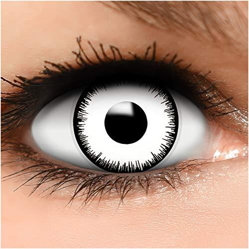 Farbige Kontaktlinsen Vampir in weiß + Behälter - Top Linsenfinder Markenqualität, 1Paar (2 Stück)