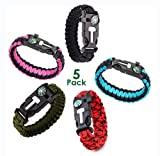 RNS STAR Emergency Paracord Bracelets | Set of 5 | Survival Bracelet with Paracord Rope, Tactical Bracelet Fire Starter, Compass, Emergency Whistle & Small Knife for Hiking (Ony for Big Wrist 10')