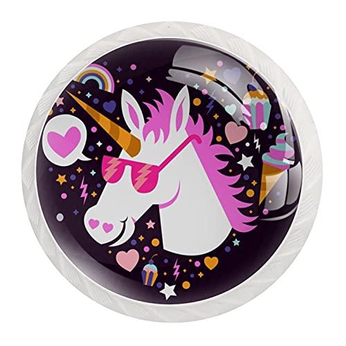 Paquete de 12 pomos de cristal para armario, diseño de unicornio, color morado y rosa con gafas de sol, tiradores redondos para cajones, pomos de armario, 3,5 x 2,8 cm