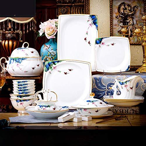 YLJYJ De Cena de la cermica de la Placa de Cena, Sistema de combinacin del pote/Placa/Cuenco de Sopa  50 Piezas de vajilla de Porcelana de Porcelana