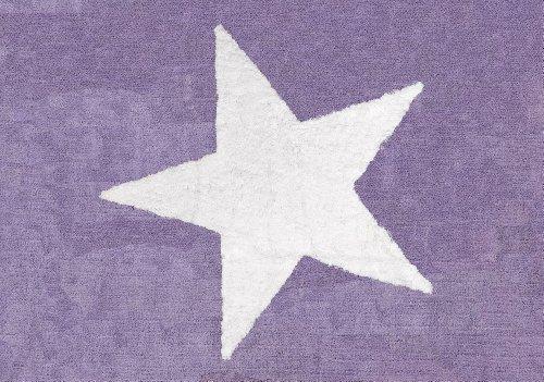 Aratextil Estela Alfombra Infantil, Algodón, Lila, 120x160 cm