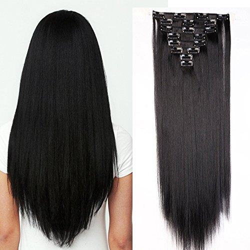 Clip in Extensions Haarverlängerung Haarteil 8 Tresssen wie Echthaar glatt Schwarz 26