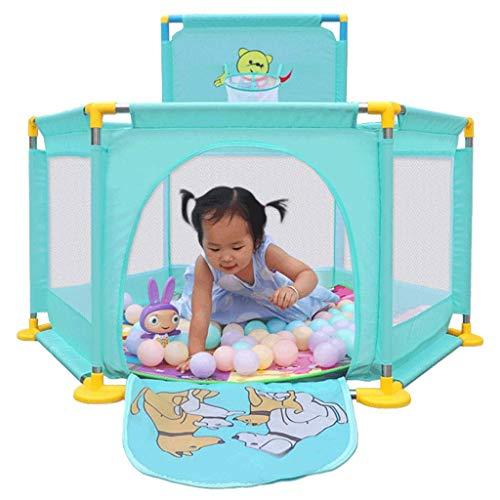 Baby-Laufstall und Bällebad-Set, Sicherheitsspielbereich Tor Weißer Gitterzaun Zusammengebauter Hausspielplatz (Farbe: B)