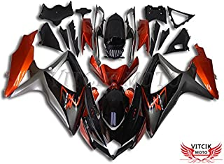 VITCIK (Fairing Kits Fit for Suzuki GSX-R750 GSX-R600 K8 2008 2009 2010 GSXR 600 750 Plastic ABS Injection Mold Complete Motorcycle Body Aftermarket Bodywork Frame (Orange & Black) A062