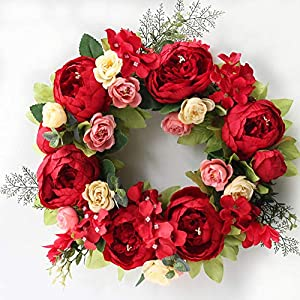 Peony Flower Wreath for Front Door Silk Artificial Floral Wreath Handmade Spring Garland Wreath for Fireplace Door Wall Windows Farmhouse Wedding Party Office Home Decor (Red Door Wreath, 16inch)