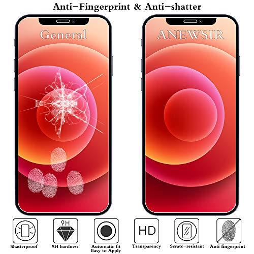 ANEWSIR 3 Stück Panzerglas Schutzfolie Displayschutzfolie Kompatibel mit iPhone 12/12 Pro 6.1 Zoll mit Installationswerkzeug.