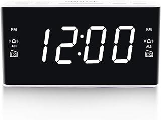 Digital Alarm Clock Radio, Alarm Clocks for Bedrooms with AM/FM Radio, 1.6 Inch White Digit Display with Dimmer, Dual Alar...