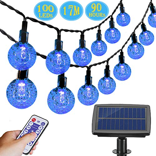 Aenamer Guirnalda Luces Exterior Solar,  17M 100 LED Impermeable Cadena de Luces 8 Modos de Luz para Decoración Hogar Jardín Terraza Patio Fiestas Navidad,  Blanco Calido