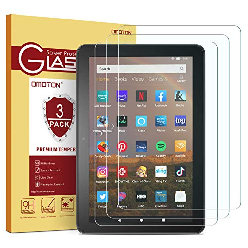OMOTON [3 Pack]All-new Fire HD 8 Plus/Fire HD 8 2020 Screen Protector,Tempered Glass Film [9H Hardness] [Crystal Clear] [Bubble Free][Anti-scratch]