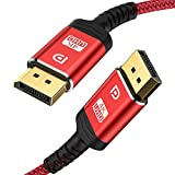 DisplayPort Cable 10ft,Capshi 1.2 DP Cable Nylon Braided -(4K@60Hz, 2K@144Hz) Gold-Plated DP to DP Cable Ultra High Speed Display Port Cable for Laptop PC TV etc- Gaming Monitor Cable (Red)