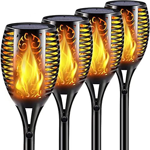 Nestling® Solar Gartenleuchte Fackel 96 LED Realistische Flamme Licht tanzen Effekt, IP65 wasserdichte solarlampen für außen, für Hochzeit Urlaub Dekorative Festival Party Licht (4Pack)