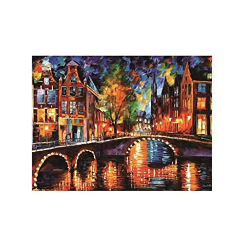 FEWFQ Colorido Cuchillo Abstracto Paisaje Calle Lago Arte Carteles Pintura sobre Lienzo Cuadro de Pared para Sala de estar-20X28 Pulgadas sin Marco 1 Uds