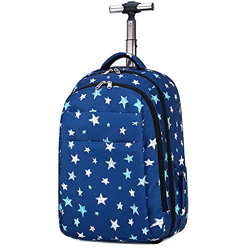 FREENN Laptop Trolley Bag on Wheels Backpack with Wheels Hand Luggage Backpack,Blue