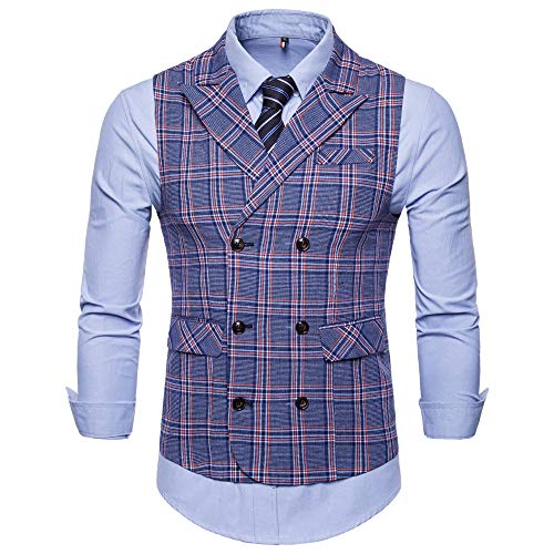UJUNAOR Männer Ohne Arm Klage Weste Plaid Beiläufiges Jacken Mantel Bluse Geschenk für Vater(Blau,CN 4XL)