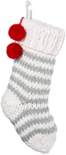 Hearth & Hand with Magnolia Holiday Stocking Sour Cream/Silver Green with Red Pom