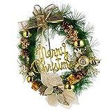 Tomaibaby 40Cm Corona de Navidad Dorada con Conos de Pino Poinsettia Arcos Y Adornos Dorados para Decoración Navideña Interior O Exterior Paredes Escaleras Ventana Corona