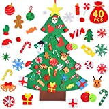 Max Fun DIY Felt Christmas Tree Set with 41Pcs Ornaments Wall Hanging Decorations Children's Felt Craft Kits for Kids Xmas Gifts Party Favors